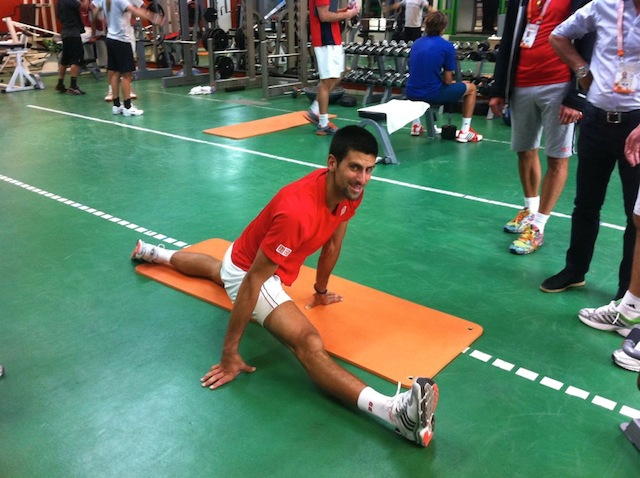 Novak Djokovic Stretching
